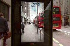 "Pepsi Max took over a bus shelter on New Oxford Street in London and surprised commuters with an ""unbelievable"" augmented reality experience - http://www.psfk.com/2014/03/pepsi-bus-shelter-stunt.html#!Be2E9"