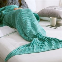 This Mermaid Tail Blanket is the perfect gift for any kids or adults who loves mermaids or the sea! Slip inside, look and feel like a real mermaid! Made with high quality. The lady who gets her hands