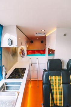 Camper van is the ultimate adventure vehicle – Curbed The post Colorful camper van is the ultimate adventure vehicle appeared first on Trendy. Truck Bed Trailer, Truck Bed Camper, Sprinter Van, Mercedes Sprinter, Mobiles, Rv Bunk Beds, Tiny Camper, Vanz, Camper Van Conversion Diy