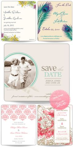 Jake & Britney- save the dates, like the round picture off to the side