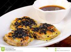 hand made pan fried beef dumpling with black sesame seeds for Dim ...