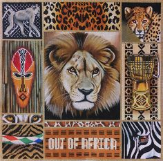 """AF-4 Out of Africa Collage  16 x 16"""" 13 Mesh $300  by Lani's Needlepoint"""