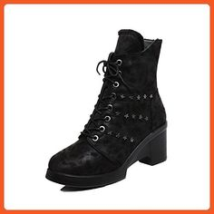 AalarDom Women's Soft Material Chains Round Closed Toe High Heels Low-top Boots, Black, 39 - Boots for women (*Amazon Partner-Link)