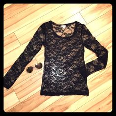 Black Lace Long Sleeve Top - Small Super cute sheer black lace top. Perfect condition. True to size, fits tight. Not H&m listed for views. EUC. H&M Tops Tees - Long Sleeve