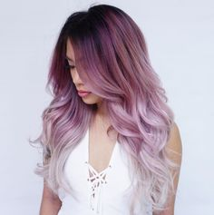 Find and save the latest beauty products and looks you'll love this season. Brown Ombre Hair, Ombre Hair Color, Cool Hair Color, Purple Hair, Hair Colors, Purple Ombre, Pelo Guay, Multicolored Hair, Colorful Hair