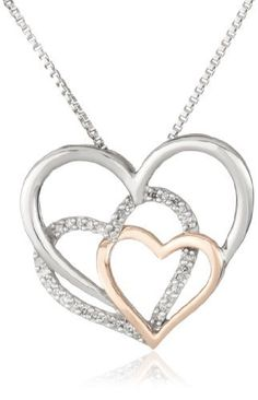 "XPY Sterling Silver and 14k Pink Gold Diamond Triple Heart Pendant Necklace, 18"" Amazon Curated Collection,"