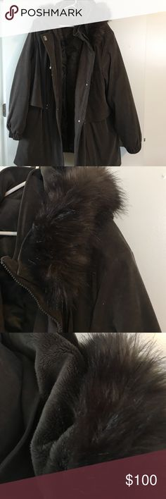 NWOT- winter coat Forest Green with removable hood. Hood has faux fur trim. Heavy duty coat to keep you nice and warm. Goes below your bottom. croft & barrow Jackets & Coats Puffers