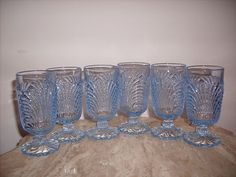 "6 Cambridge Glass 5oz Blue Caprice Juice Footed Tumblers 4 3 4"" Moonlight 
