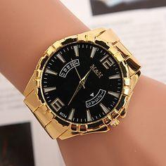 99b664a7e34 Z.xuan женщин   мужчин стальной ленты аналогового кварц случайные часы  более цветов. Relógio FemininoRelógios ...