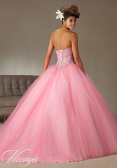 Quinceanera Dress  Vizcaya Morilee 89062  Tulle Ballgown Beading  Colors: Coral, Aqua, Cotton Candy and White   Back side view