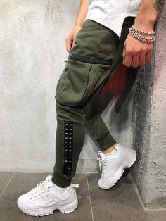 0e326e8b0b Men Slim Fit Cargo Spikes Sweatpants Joggers - Green 3995
