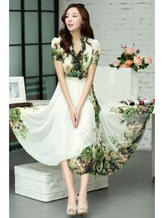 Ericdress Bohemian Vintage Green Print Maxi Dress