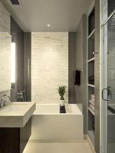 26 Awesome Small Bathroom Design Ideas : 26 Awesome Small Bathroom Design Ideas With White Black Modern Vanity And Bathtub And Open Shelves .. Colour
