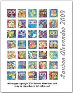 Owls 1 Inch Square Digital Collage Lauren Alexander PDF. $4.00, via Etsy.