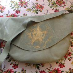 Leather silk screened handbag flower design by KrakensandCats