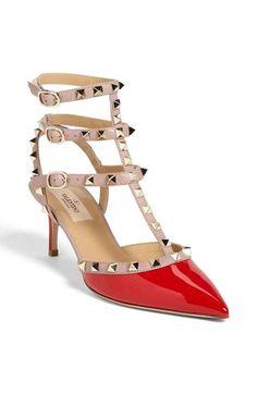 a8fb38aab50a0 Valentino Rockstud Pointy Toe Pump (Women) Women's Pumps, Red Pumps, Kitten  Heel