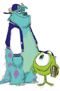Pixar Concept Art - Mike and Sully (Monster University) Pixar Characters, Drawing Cartoon Characters, Character Drawing, Cartoon Drawings, Character Design, 2d Character, Walt Disney, Disney Pixar, Disney Magic