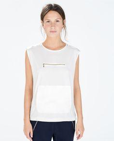 ZARA - 여성 - 지퍼 포켓 티셔츠