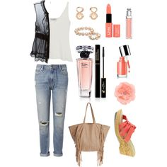 fond of peach by chathurika-gamage on Polyvore featuring Mulberry, Dolce&Gabbana, Whistles, Easy Street, Cleobella, Gemvara, Christian Dior, Lancôme and Clinique