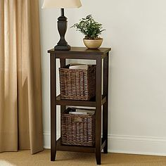 "Linden Street Basket Storage Table - jcpenney  5¾x11¾x32""H. Each woven basket is 10x9x9""H $90"