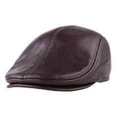 5212e8b7a0261 Men Classic Genuine Cowhide With Ear Flaps Beret Hats Casual With  Ventilation Holes Flat Caps Cheap