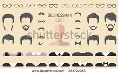 Big vector set of dress up constructor with different businessman glasses, beard, mustache, wear in trendy flat style. Man faces icon creator.