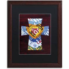 Trademark Fine Art 'Heart Cross' Canvas Art by Design Turnpike, Black Matte, Wood Frame, Size: 16 x 20, Multicolor