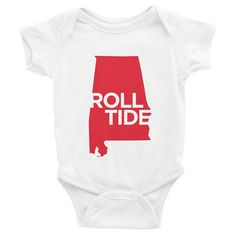 Alabama Graphic Onesie Roll Tide Crimson and White by #82and1