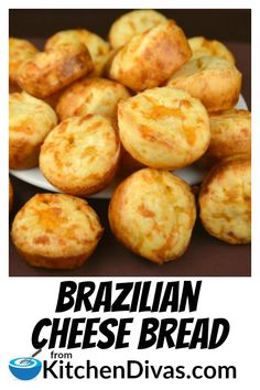 Crisp on the outside soft on the inside and full of cheesy garlic goodness. Brazilian Cheese Bread is the perfect gluten free addition to any meal! Brazillian Cheese Bread, Brazilian Cheese Puffs, Brazilian Bread, Brazilian Dishes, Brazilian Recipes, Bread Recipes, Cake Recipes, Cooking Recipes, Keto Recipes