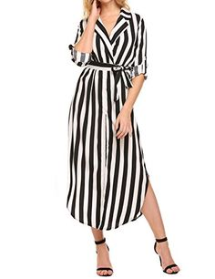 New Unibelle Women's Casual Waist Tie Front Split Loose Long Sleeve Striped Maxi Dress online. Find the perfect SYLVIEY Dresses from top store. Sku rvyl85399qgqd31803