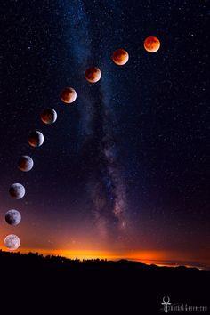 Fotografias da lua de sangue em movimento