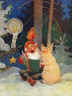 Pig and gnome singing in winter forest