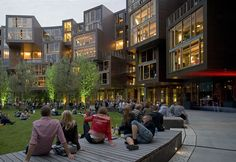 a 360-room circular dorm in Copenhagen - the communal spaces (kitchens, etc) face inwards, student rooms face outwards.