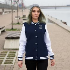 Bring back nostalgia with your personalized Womens Varsity Letterman Jacket! Coming in a variety of colors, this lightweight coat oz) helps you stay warm, cute and comfortable when running errands around town. XS S M L XL Width, cm 57 Length, cm 66 Dark Denim, Blue Denim, Varsity Letterman Jackets, Bomber Jackets, Bad Girls Club, Ootd, Clothing Co, Color Azul, Logo Nasa