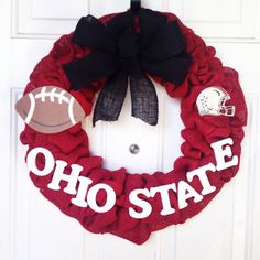 Ohio State Football Burlap Wreath w/Metal by AllAboutTheBurlap Ohio State Wreath, Ohio State Football, Cream Cheese Ball, Hockey, Baseball, Sport Craft, Fall Decorations, 4th Of July Wreath, Burlap Wreath