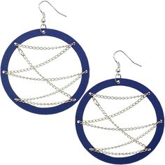 Forget about following the latest trends, Go fashion chic in these blue wooden dangle hoop earrings.