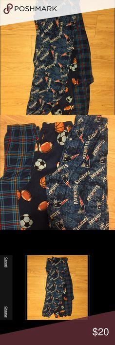 🏀🏈⚾️three pairs boys pajamas 3pairs boys pajamas...very well taken care of...size 14-16 mad dog Pajamas Pajama Bottoms