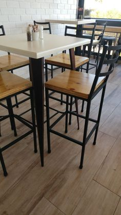 Bar chairs and bar tables. Bar Tables, Bar Chairs, Industrial Style, Projects, Furniture, Home Decor, Table, Bar Stool Chairs, Log Projects
