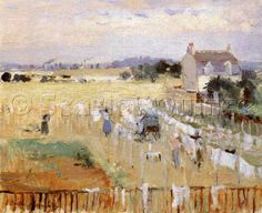 Scarlet Quince cross stitch chart: Hanging the Laundry out to Dry - Berthe Morisot