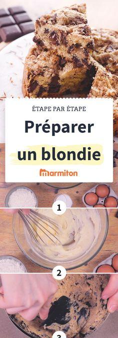 Connaissez-vous le blondie ? C'est un brownie au chocolat blanc. Bref, c'est un gâteau absolument délicieux qui ressemble à un cookie géant avec ses pépites de chocolat #recettemarmiton #recettepasapas #pasapas #marmiton #recette #cuisine #blondie #chocolatblanc