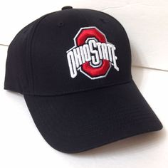 new product 52d69 0408a New OHIO STATE BUCKEYES HAT Black White Red Curved Bill Structured Fit  Men Women  Fan1  OhioStateBuckeyes