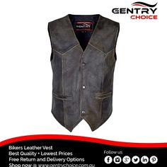 "✔️ Harley Style Distress Leather Motorcycle Vest Multi Pockets Waistcoat ✔️ High Quality and Fast Delivery 🌐 Shop now @ ""Gentry Choice"" Motorcycle Leather Vest, Biker Leather, Motorcycle Outfit, Cowhide Leather, Biker Wear, Safety Clothing, Gear S, Tonne, Distressed Leather"