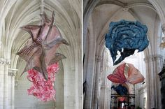 Peter Gentenaar: paper sculpture, exhibition at the abbey church of Saint-Riquier church in northern France, 2012