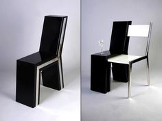 This innovative style will give you enough space while still maintaining a stylish, modern design. It's basically a chair within a chair. You can get two seats when you pull out the silver chair.