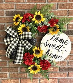 Sunflower Wreath Summer Wreath Summer Grapevine Wreath Home Thanksgiving Wreaths, Autumn Wreaths, Wreath Fall, Spring Wreaths, Holiday Wreaths, Diy Wreath, Grapevine Wreath, Wreath Ideas, Ribbon Wreaths