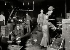 "Bottle Boy: November 1909. Wheaton Glass Works, Millville, N.J. ""Day scene in New Jersey Glass House. Boy is Howard ____, 15 years old but has been in t..."