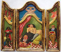 """Antonio BONILLA : """"La Gula"""" (de la serie de los 7 pecados capitales) ; fecha : 9 Mayo 1989 ; tríptico abierto : 24cm x 26cm ; colección MDAA (adquirido en 1989 del artista)"""