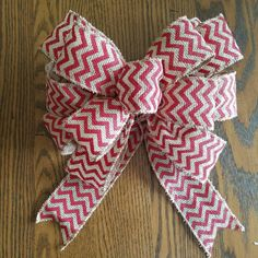 Red chevron Burlap bow Wreath Bows red chevron by KelseysHomeDecor