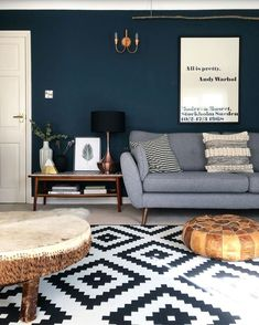 Living room painted in Farrow & Ball's Hague Blue ? Living room painted in Farrow & Ball's Hague Blue ? Dark Living Rooms, Farrow And Ball Living Room, Blue Living Room, Dark Blue Living Room, Living Room Wall, Blue Living Room Decor, Home And Living, Cosy Living Room, Blue Walls Living Room