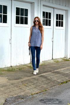 Rock & Republic lace-up fringe tank, Guess jeans, Dolce Vita Oxfords